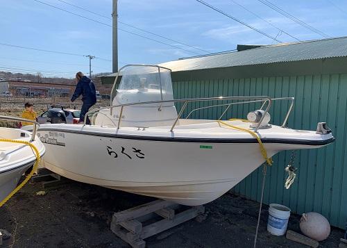 北海道伊達市レンタル釣り船、ヒラメ・カレイ・シャケ釣りの黄金マリン、レンタルプレジャーボートBISHAMON(ビシャモン)画像